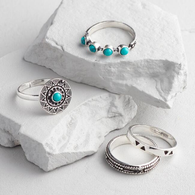 Silver and Turquoise Charm Rings Set of 4
