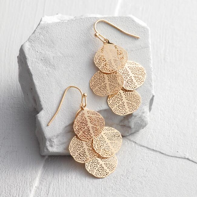 Gold Four Leaf Drop Earrings