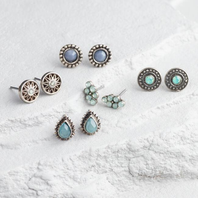 Silver, Pale Blue and Mint Stud Earrings Set of 5