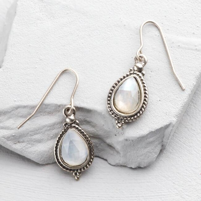 Silver and White Stone Drop Earrings