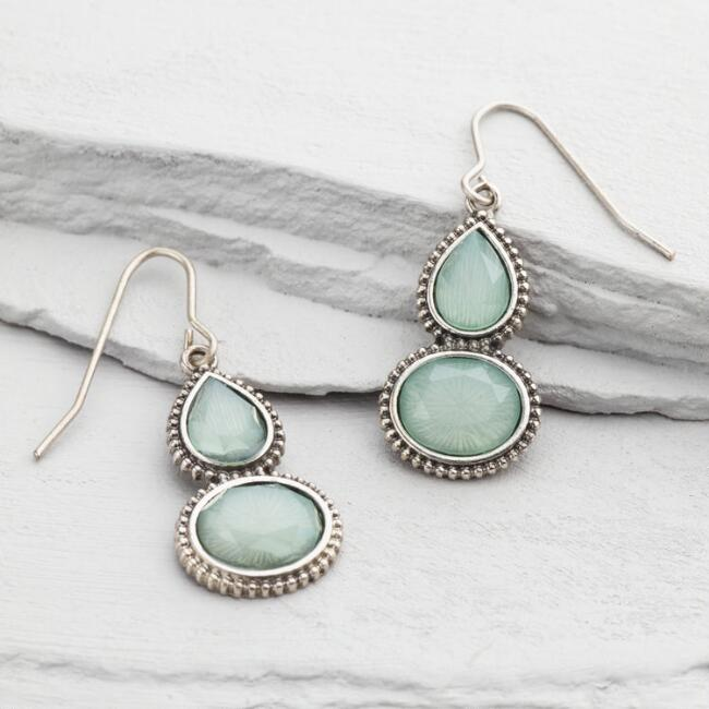 Silver and Pale Blue Stone Drop Earrings