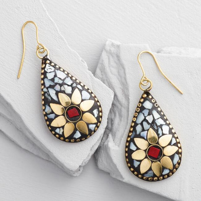 Red, White and Yellow Inlay Earrings