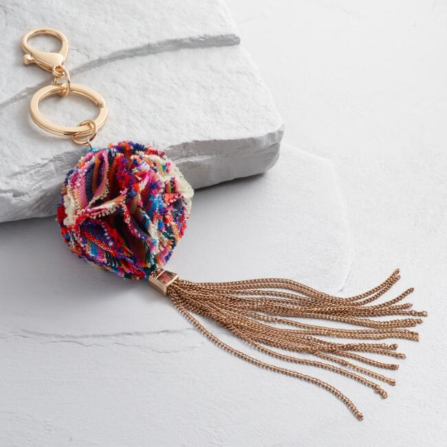 Gold Tassels and Fabric Ball Keychain