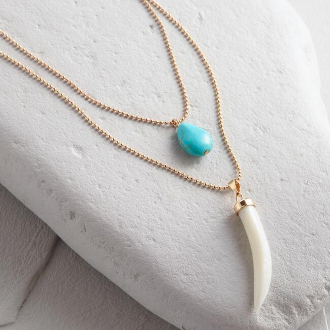 Turquoise and White Horn Multi Strand Necklace