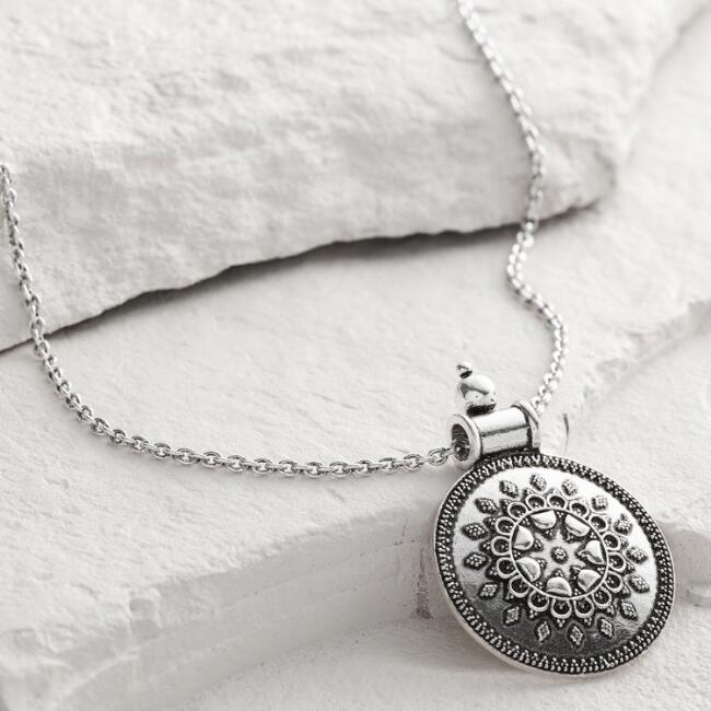 Silver Medallion Pendant Necklace