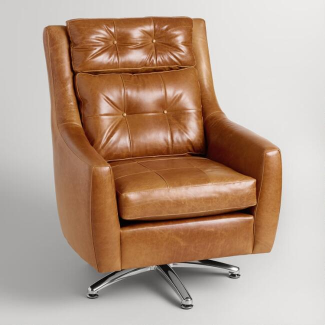 Tufted Leather Hardman Swivel Chair
