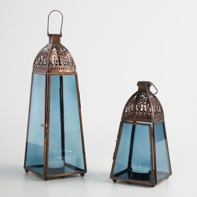 Blue and Antique Copper Lantern