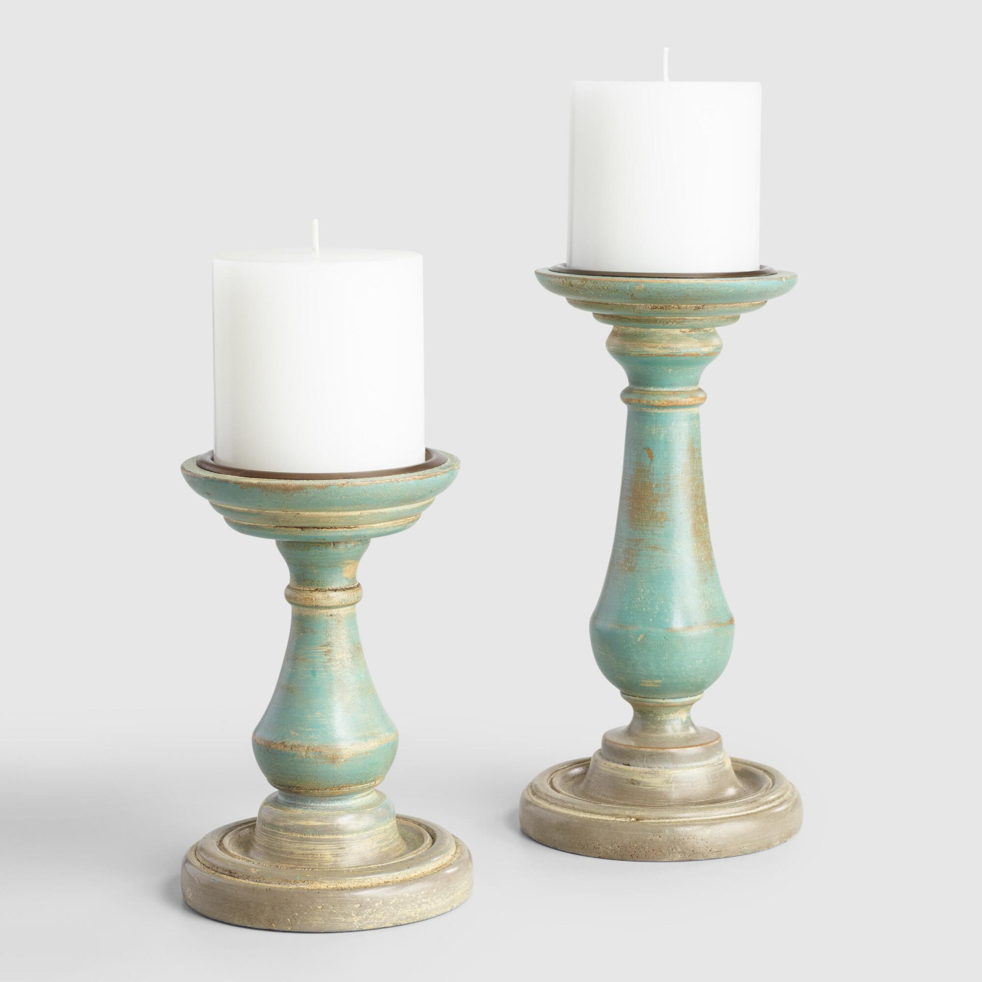 Antique Blue and Gray Wood Mallory Pillar Candleholder: Blue/Gray - Small by World Market Small
