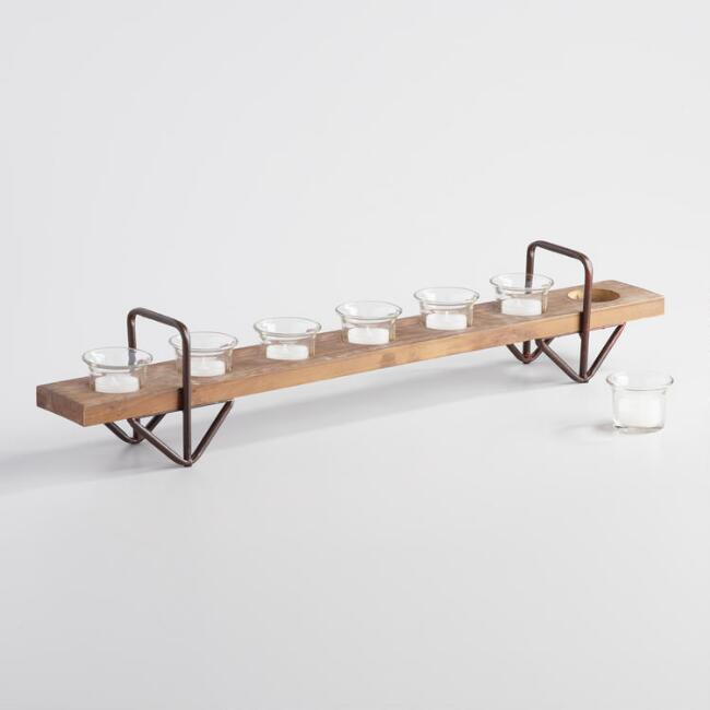 Wood and Metal Avery 7 Votive Candleholder Tray