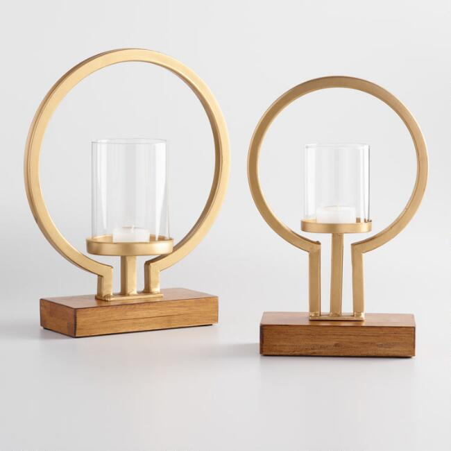 Gold Rio Tealight Candleholder with Wood Base