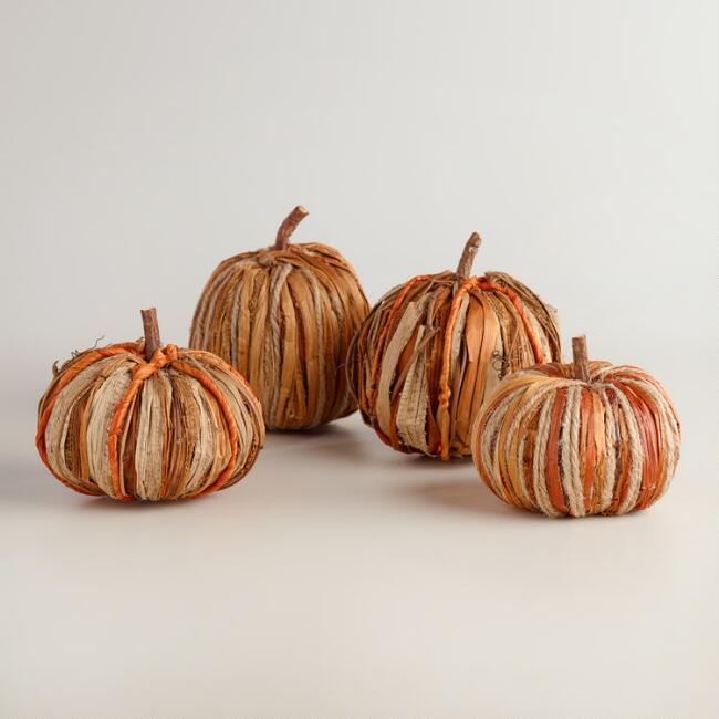 Natural Fiber Pumpkins Set of 4