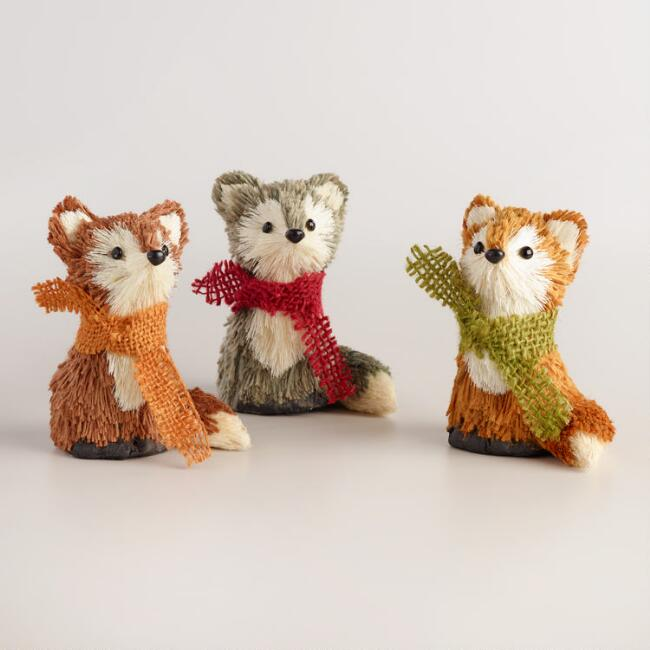 Jute and Natural Fiber Foxes Set of 3