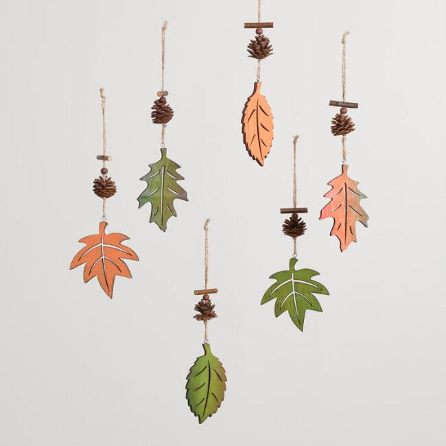 Wood Leaf Hanging Decor Set of 6