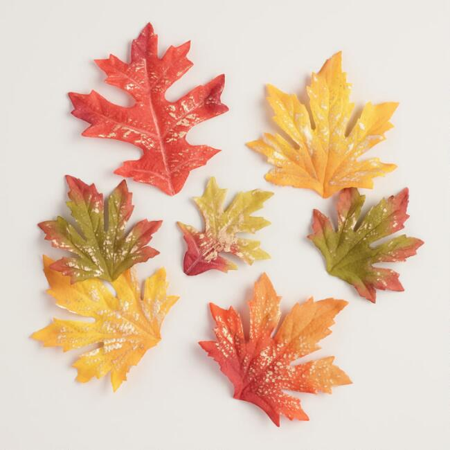 Gold Brushed Autumn Scatter Leaves Set of 2