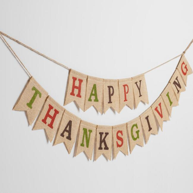 Burlap Happy Thanksgiving Garland