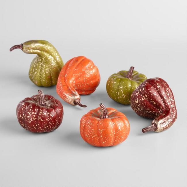Gold Finished Gourds and Pumpkins Set of 6