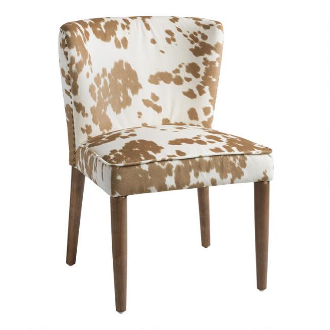 Tan Faux Cowhide Chloe Chairs Set Of 2