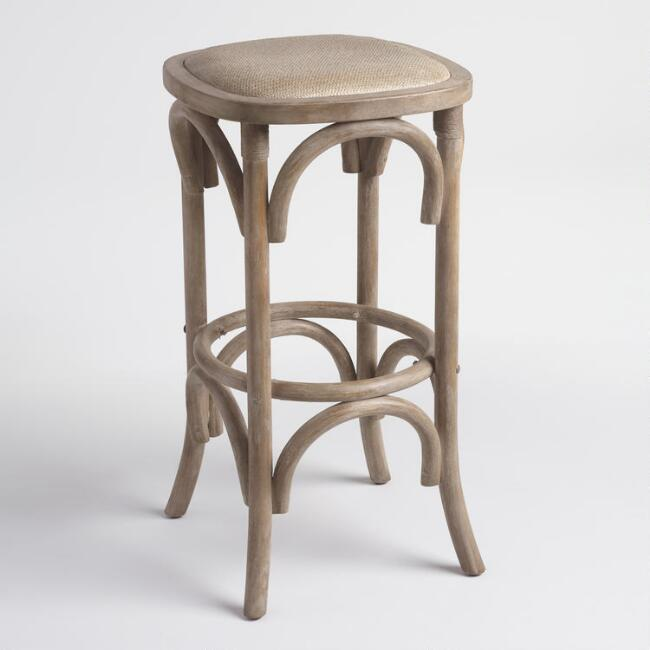 Gray Yasmin Backless Barstool with Rattan Seat
