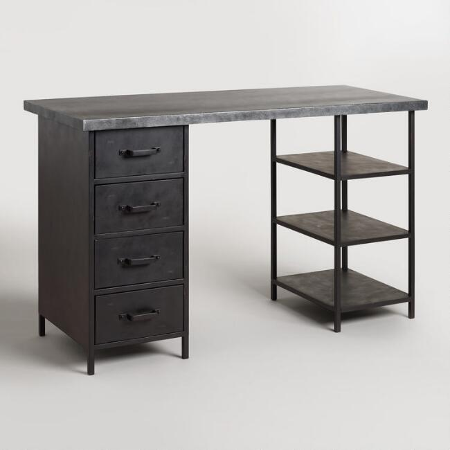 Metal Top Craft Height Colton Mix & Match Desk with Shelf and Drawers