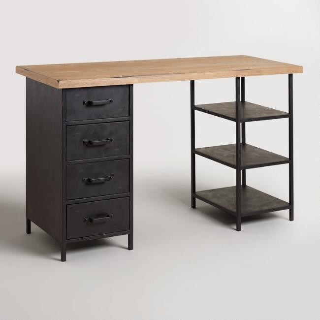 Wood Top Craft Height Colton Mix & Match Desk with Shelf Drawers