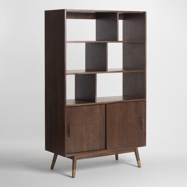 Walnut Brown Wood Randi Mid Century Bookcase