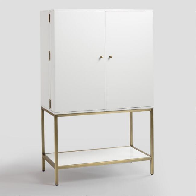 White Lacquer and Metal Cabinet