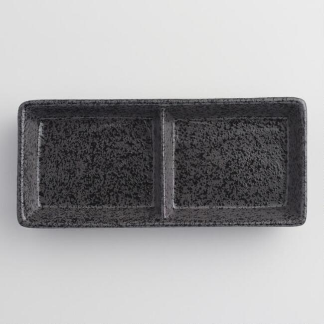Black Zen 2 Section Sauce Dishes Set of 4