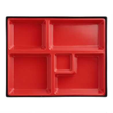 Black and Red Melamine Bento Boxes Set of 2