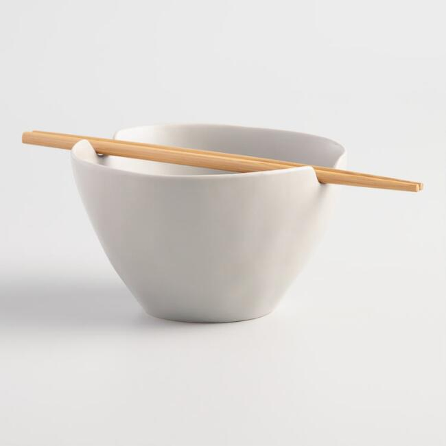 Stone Gray Element Noodle Bowl and Chopsticks Set