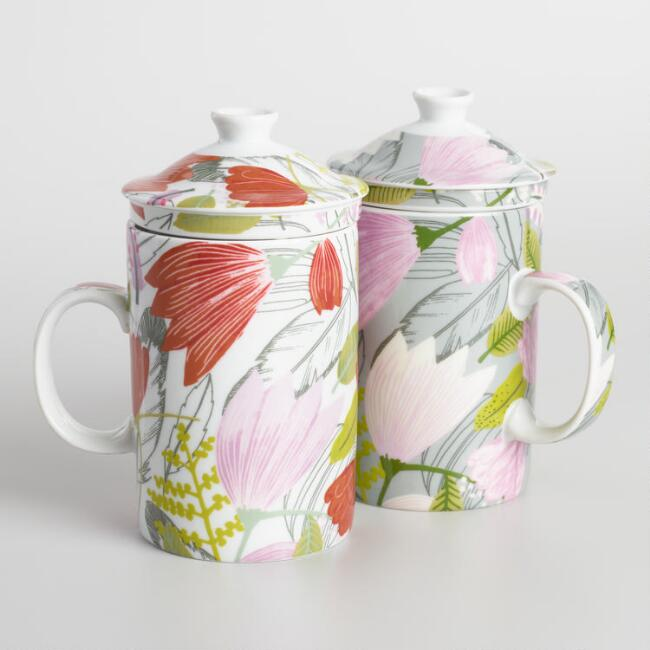 Gigi Floral Porcelain Infuser Mugs Set of 2