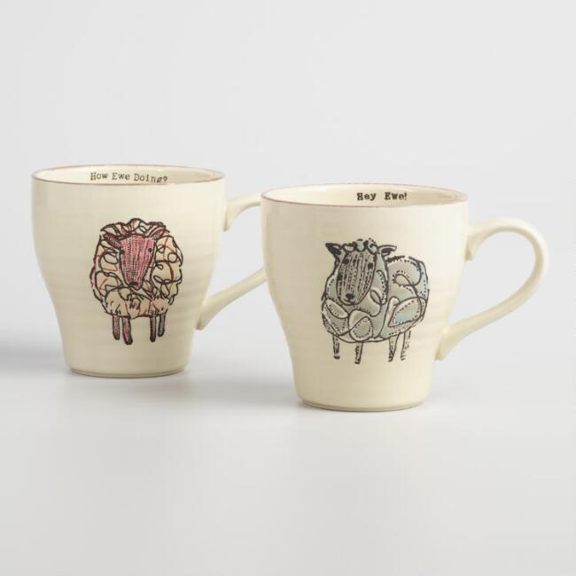 Hand Painted Sheep Stoneware Mugs Set of 2