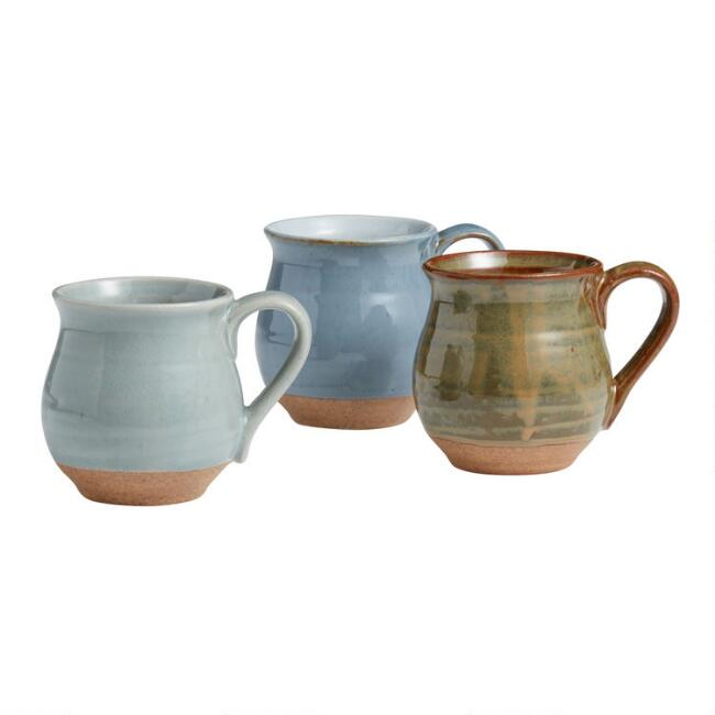 Organic Glazed Ceramic Belly Mugs Set of 3