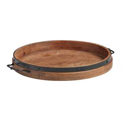 Round Rustic Wood Serving Tray With Iron Handles