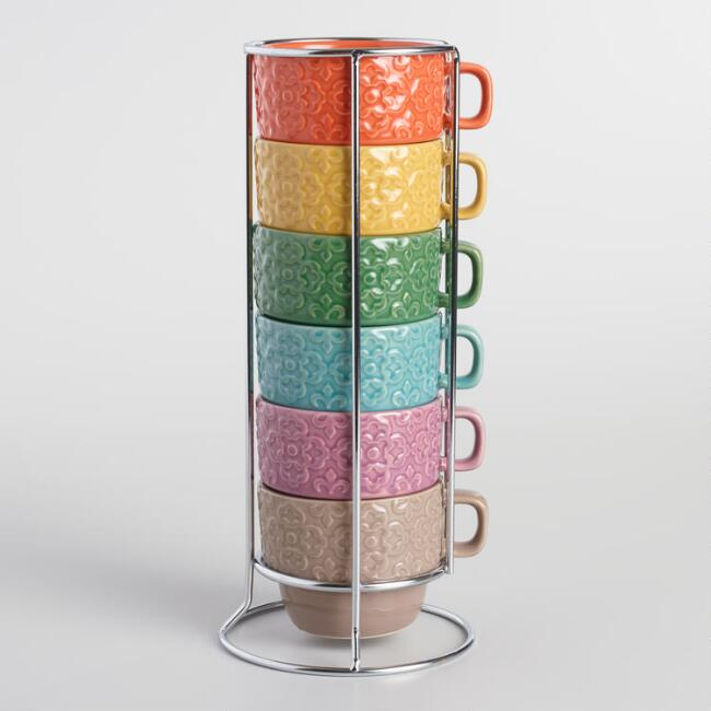 Embossed Tile Stacking Mugs Set of 6