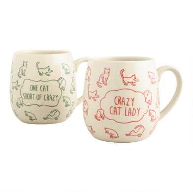 Crazy Cat Lady Stoneware Mugs Set of 2