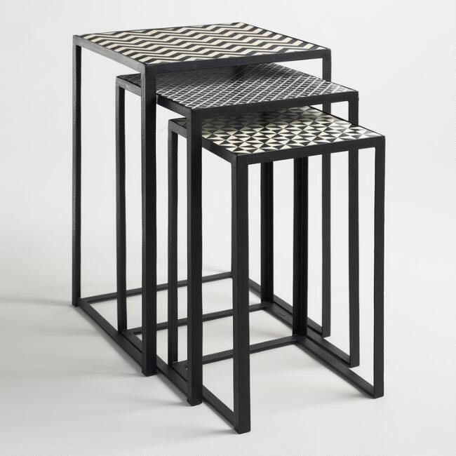 Black and White Square Nesting Tables Set of 3