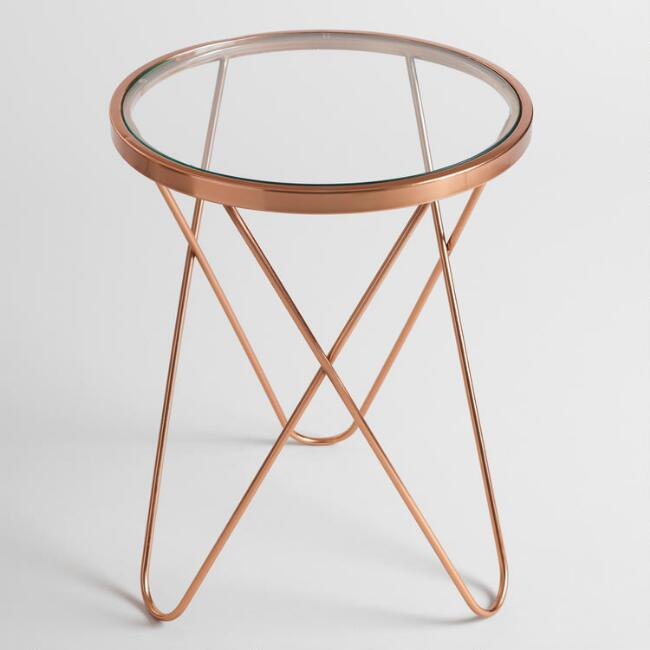 Rose Gold Tomlin Accent Table With Glass Top World Market