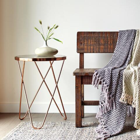 Rose Gold Tomlin Accent Table With Gl Top