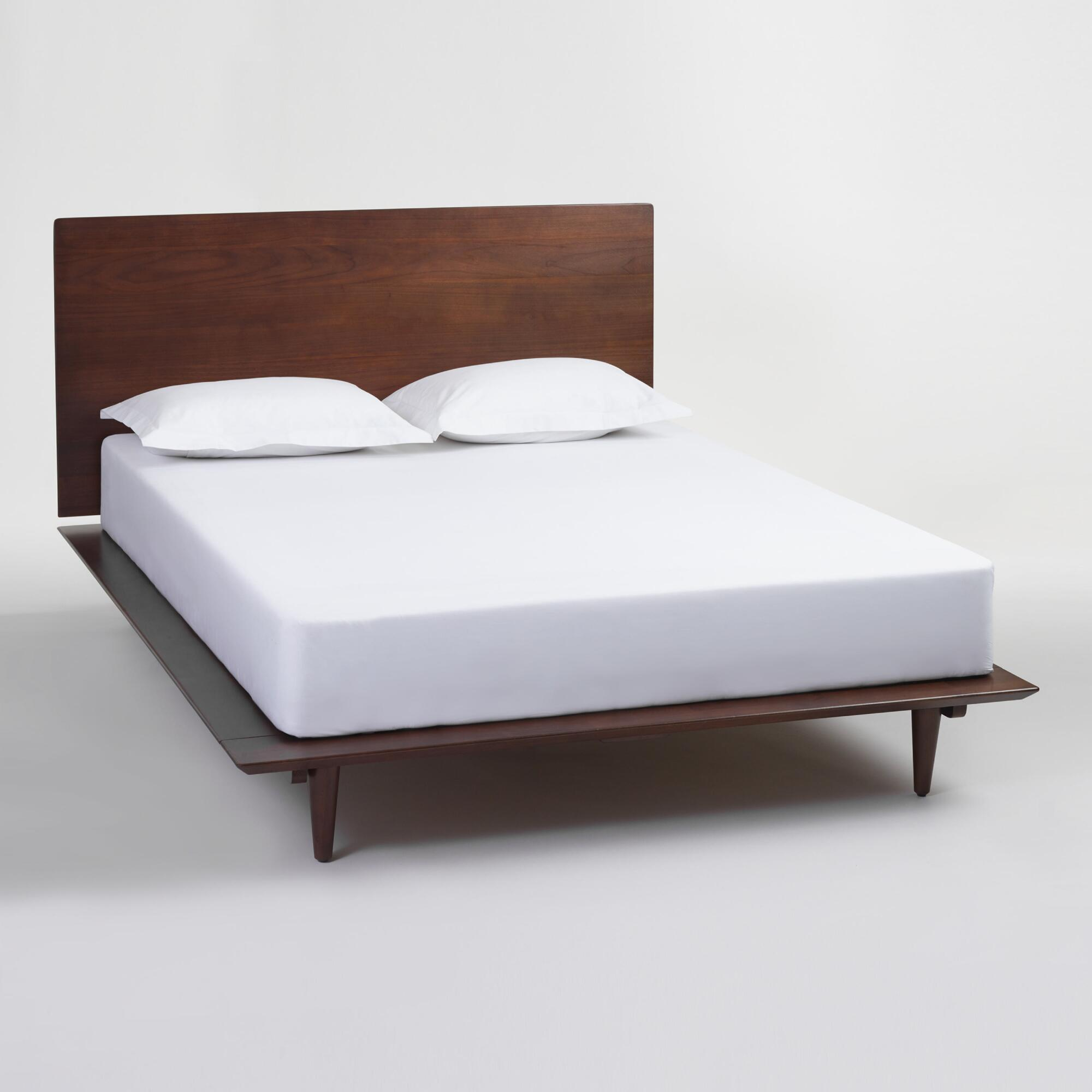 affordable platform beds frames  headboards  world market - walnut brown wood barrett queen bed