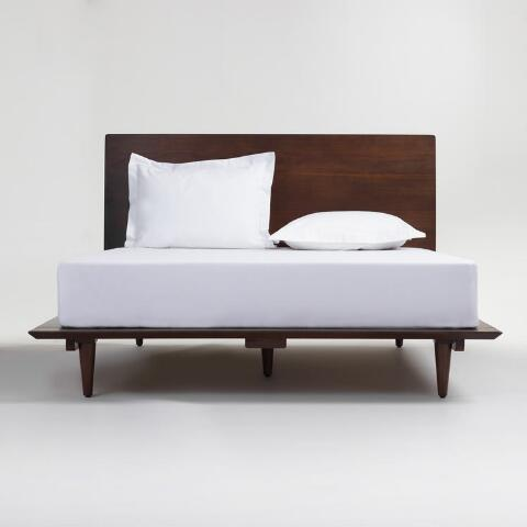 v2 - Walnut Brown Wood Barrett Queen Bed World Market