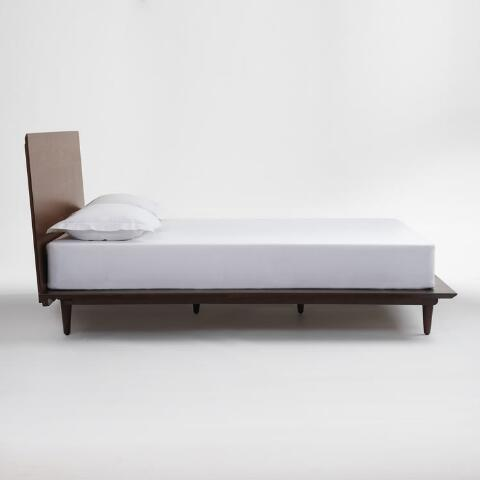 Walnut Brown Wood Barrett Queen Bed | World Market