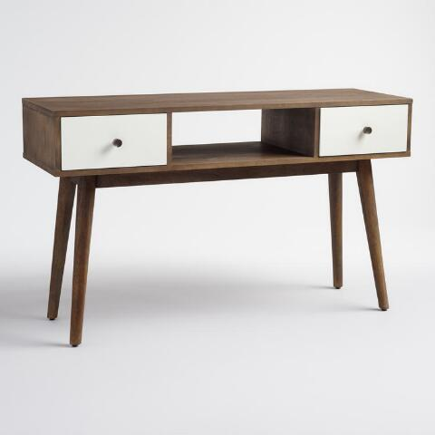 Wood And White Lacquer Console Table Previous V6 V1