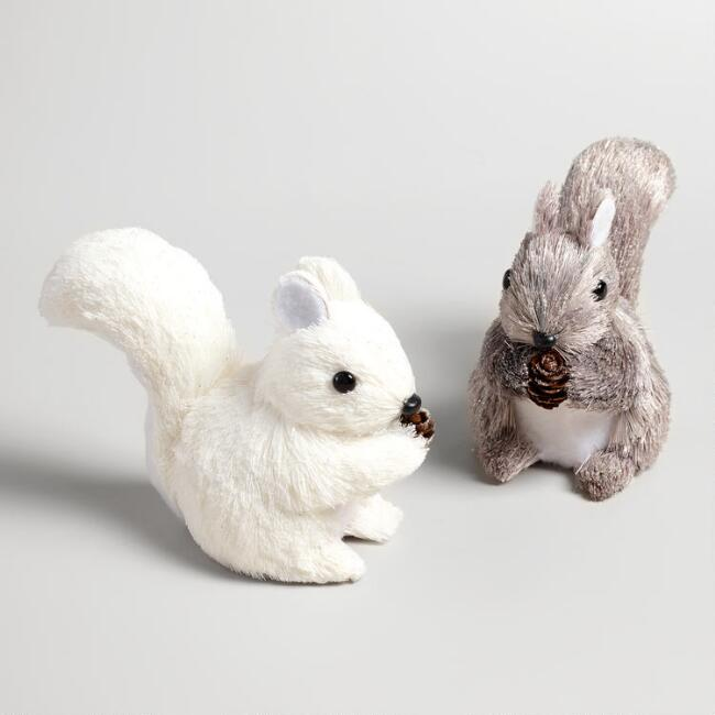 Natural Fiber Frosty Squirrel Decor Set of 2