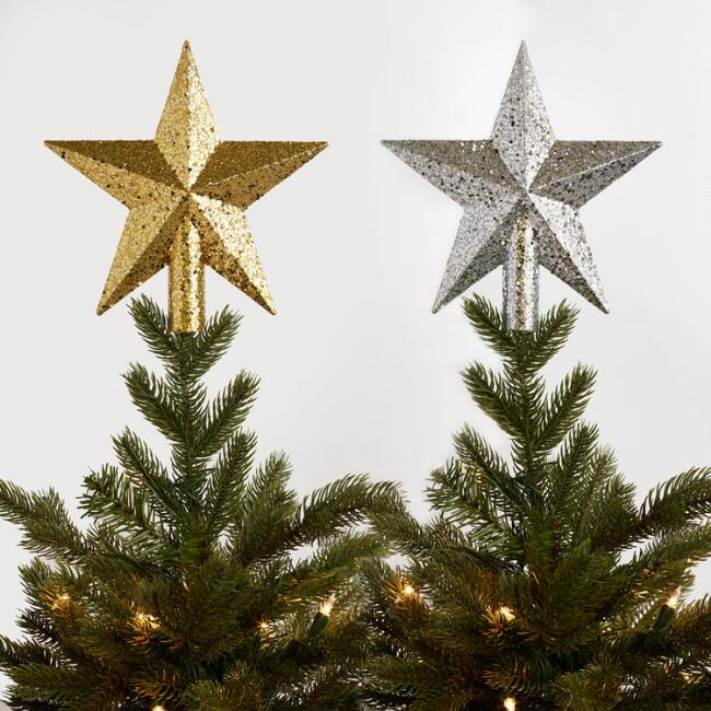 Glittered Tree Toppers Set of 2
