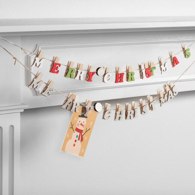 Wood Merry Christmas Garlands with Clips Set of 2