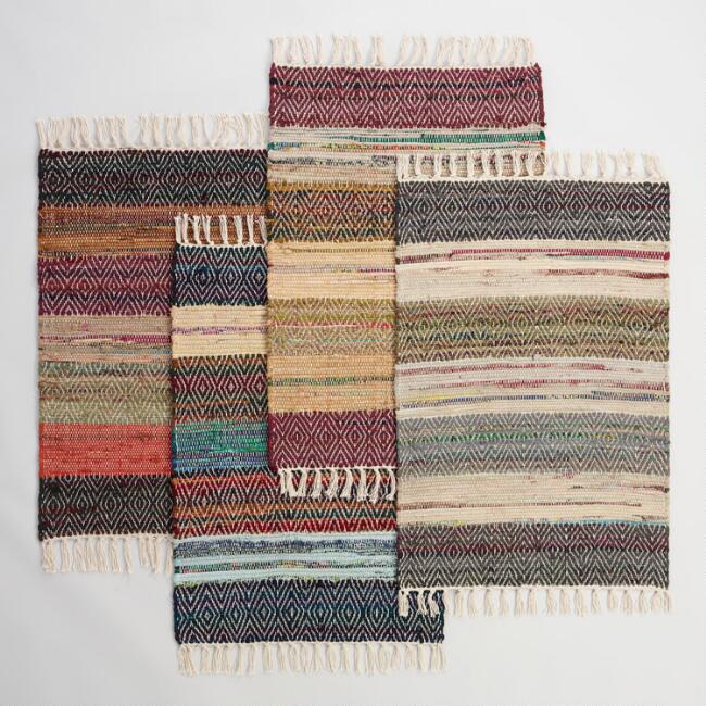 2'x3' Wide Stripe Chindi Area Rug