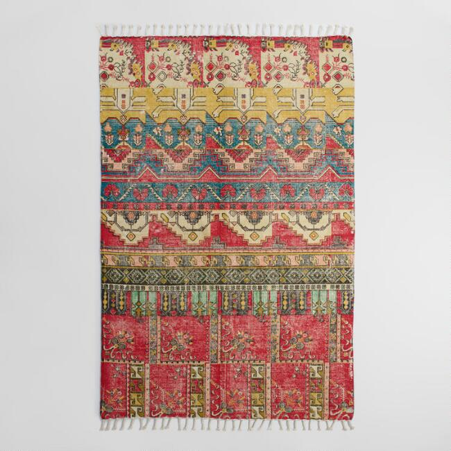 5'x8' Red Cotton Dhurrie Nadia Area Rug