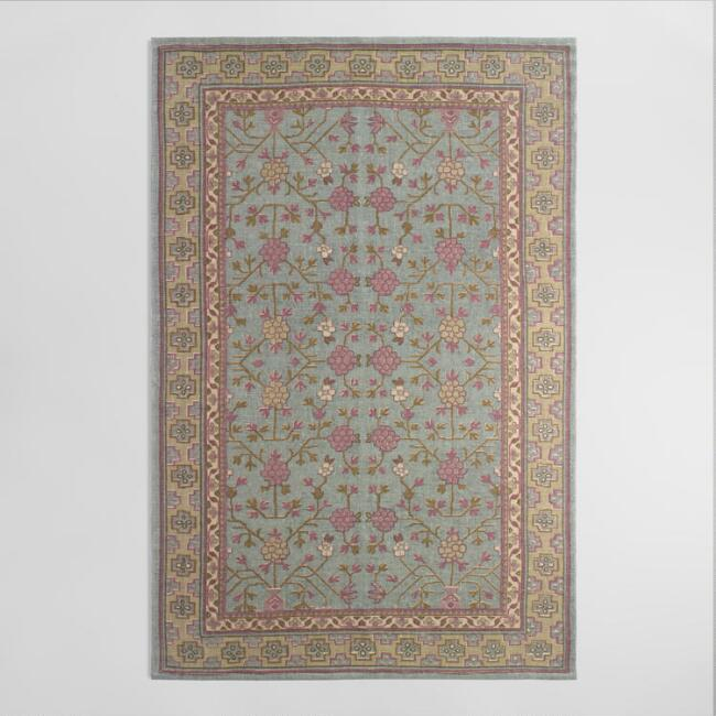 5'x8' Gray Blue Floral Jute Boucle Amrita Area Rug