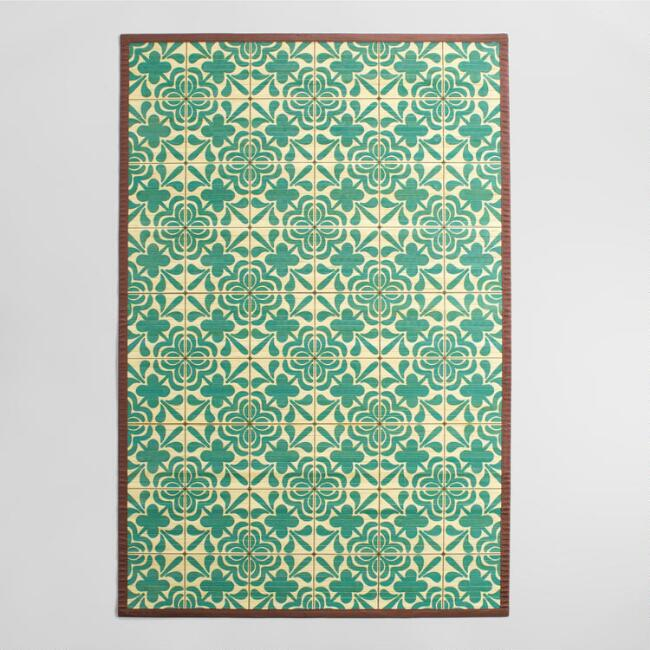 4'x6' Blue and Ivory Tile Bamboo Area Rug