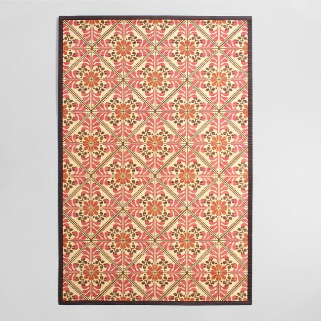4 X6 Red And Orange Fl Bamboo Area Rug